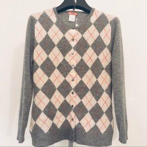 NWT✨ J Crew cashmere pickstitch argyle cardigan